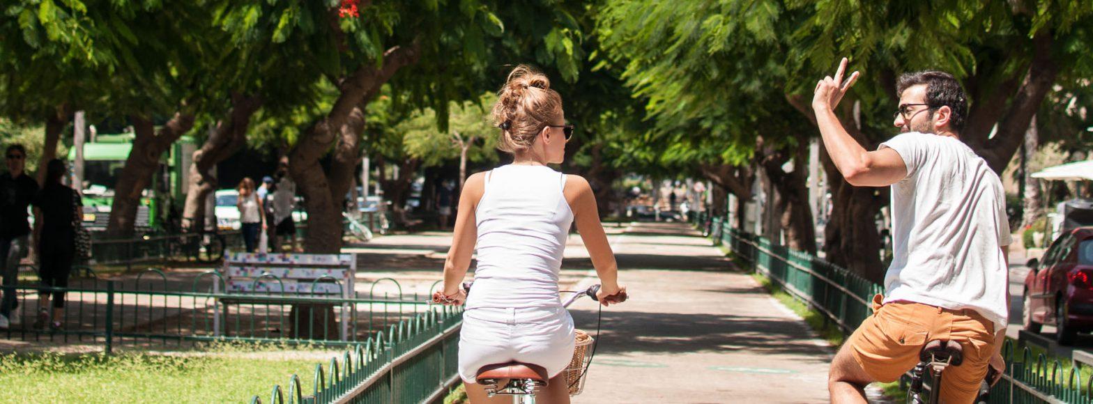 Biking in Rotschild Blvd